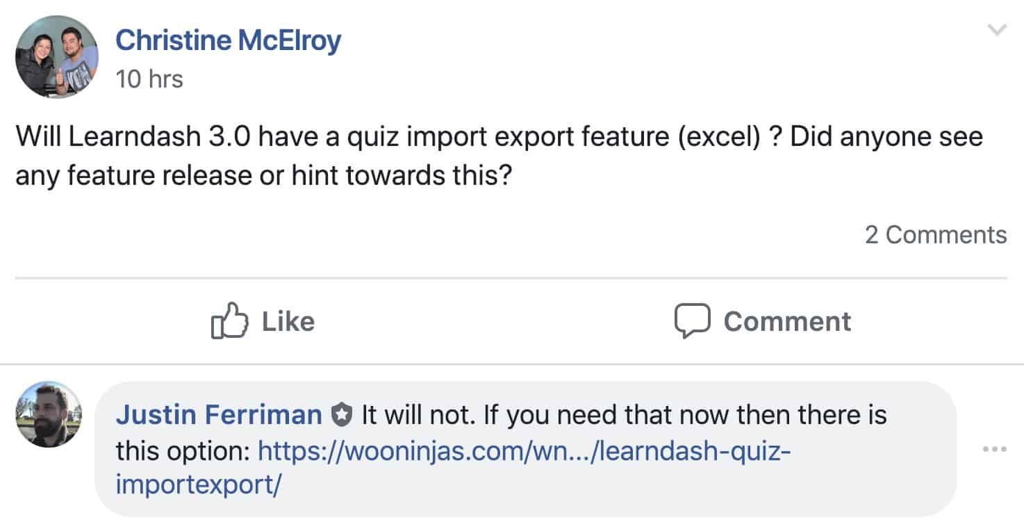 LearnDash 3.0 question about quiz import/export