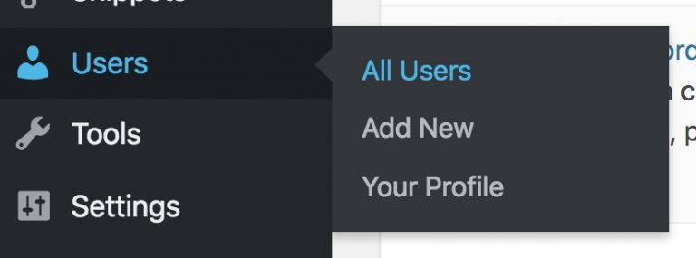 All Users menu in WordPress