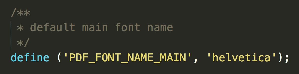 TCPDF default font code