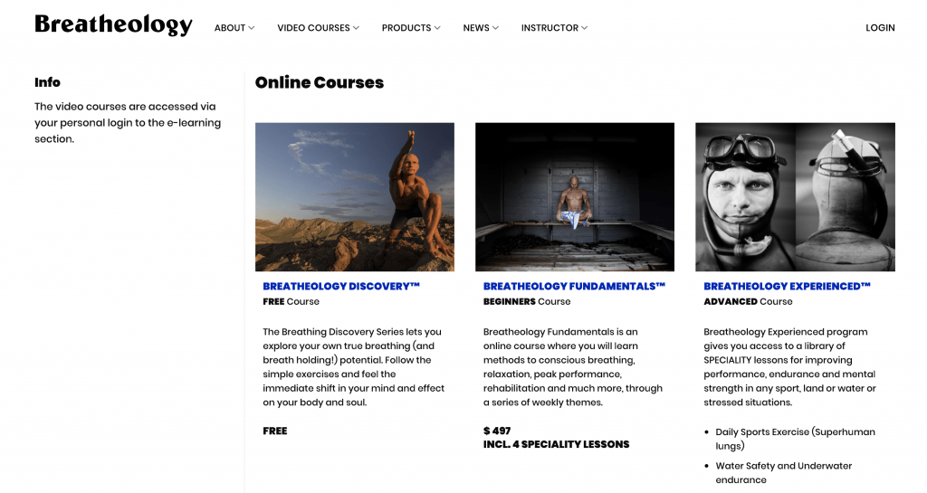 Breatheology course listing page