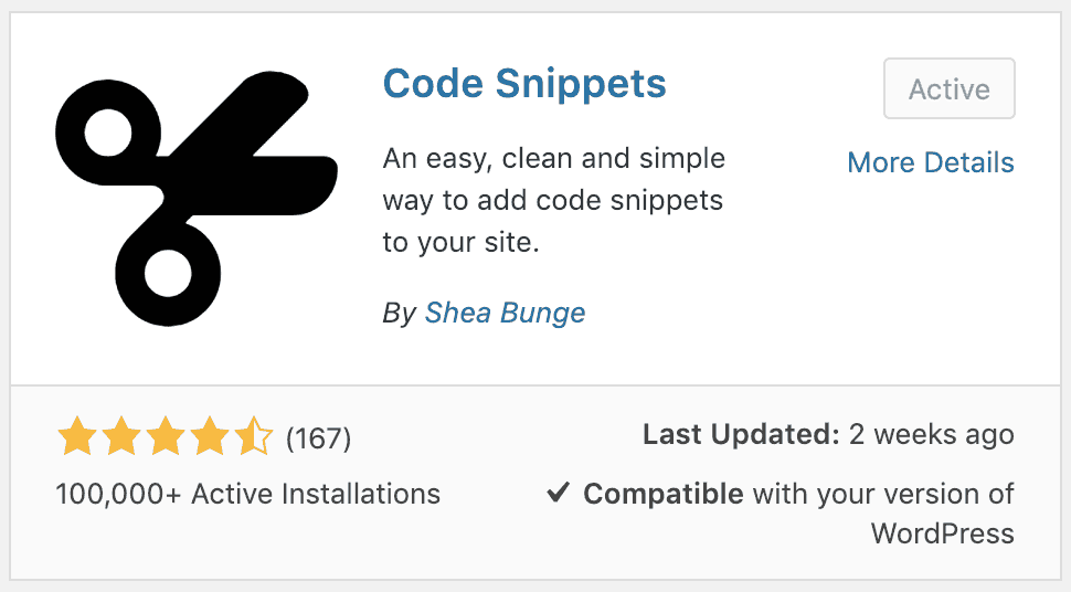 WordPress Code Snippets plugin card