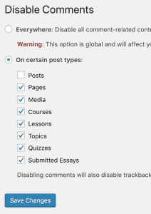 Disable Comments plugin example settings