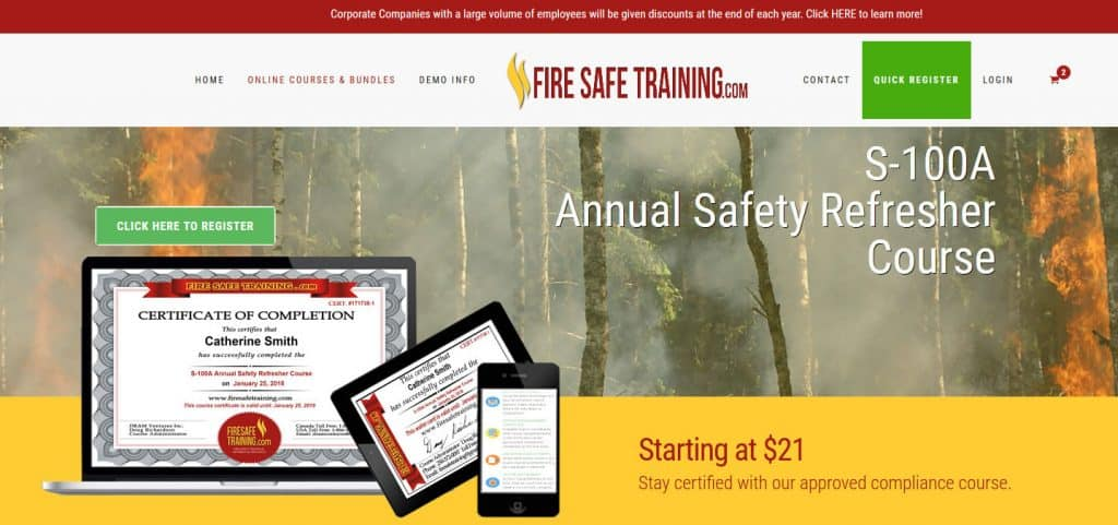 Fire Safe Training course intro section