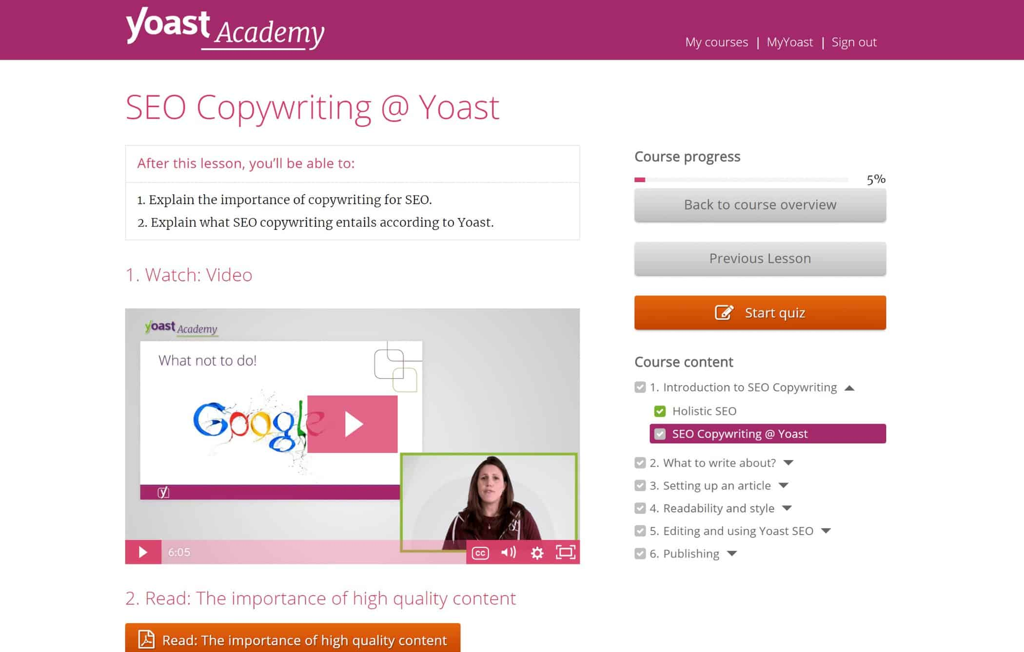 Yoast Academy topic page example