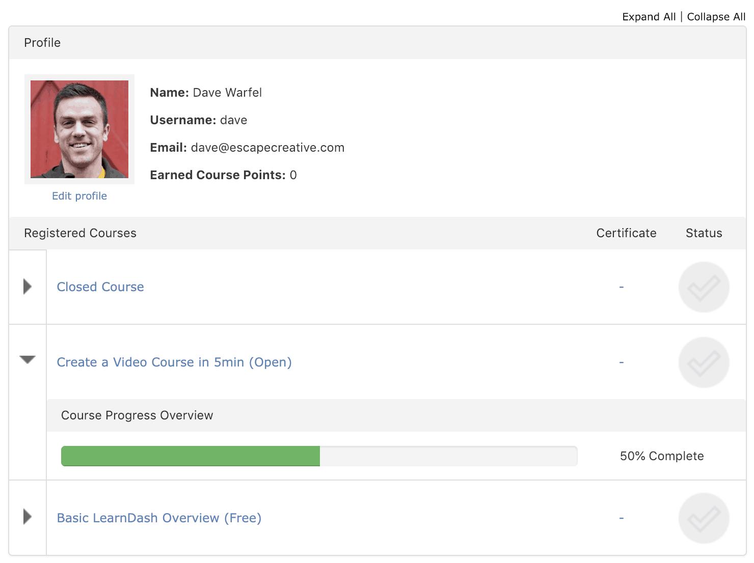 LearnDash Students Profile