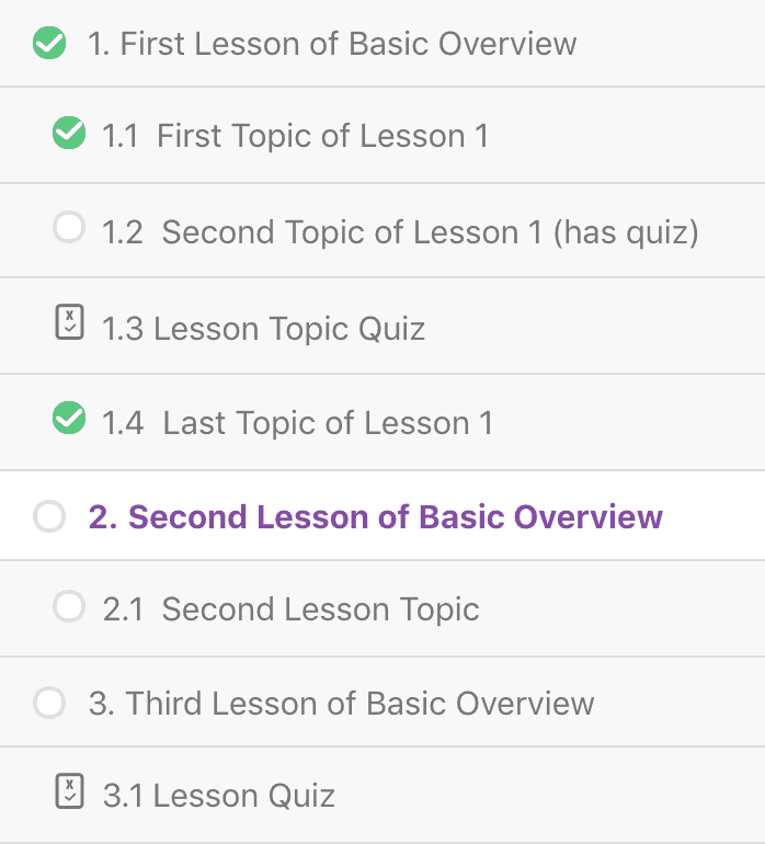 Numbered lessons & topics in LearnDash focus mode