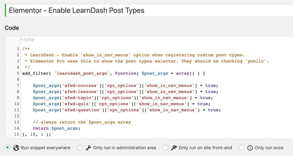 Code snippet to enable LearnDash post types in Elementor theme builder