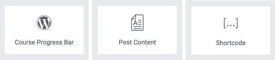 3 Elementor widget types: progress, post content & shortcode