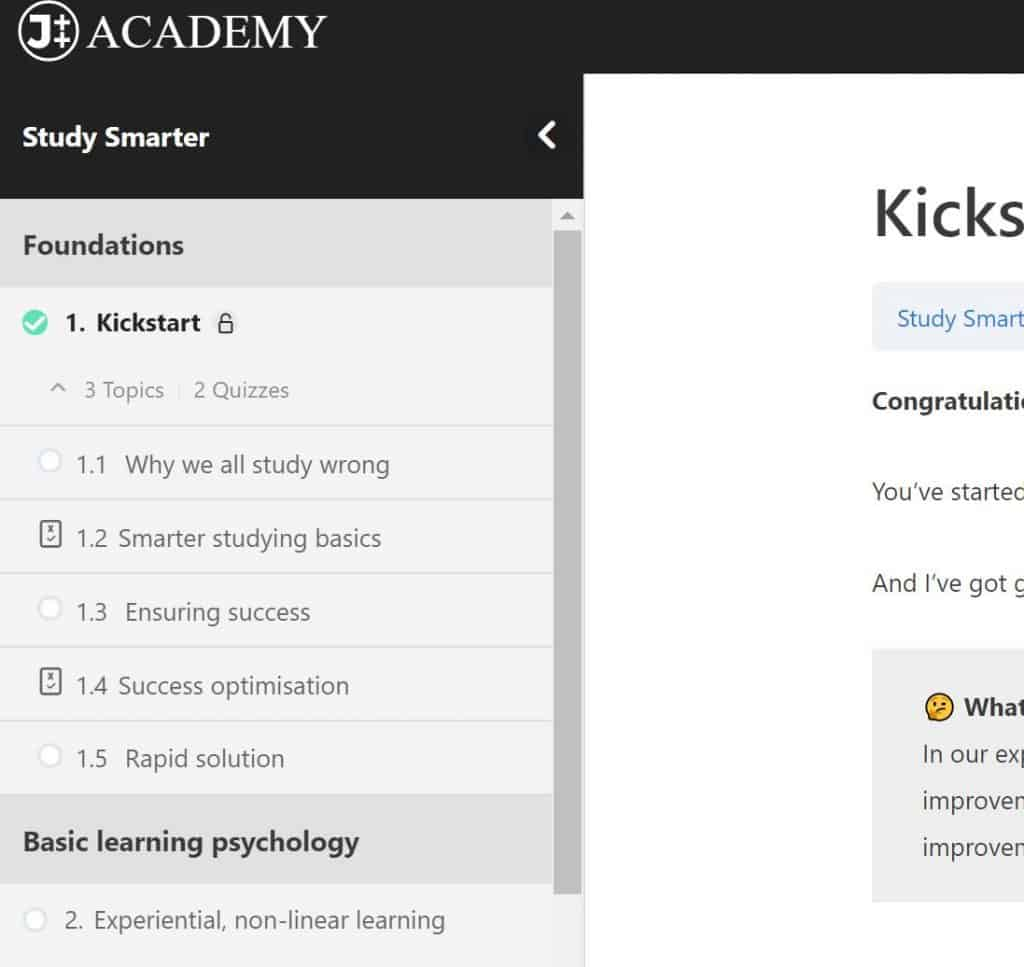 JTT Academy site, numbered lessons & topics in Focus Mode