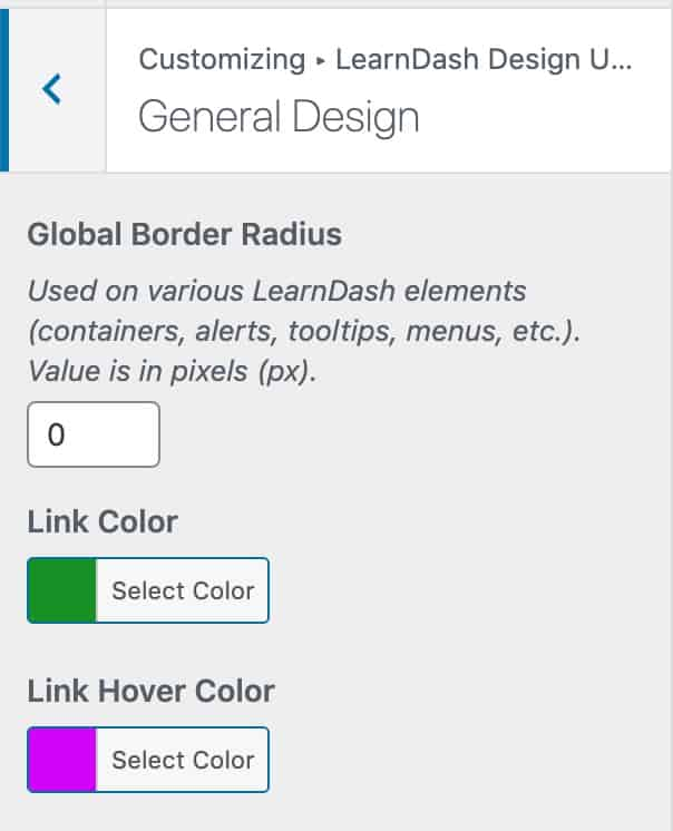 General Design options in Design Upgrade for LearnDash plugin