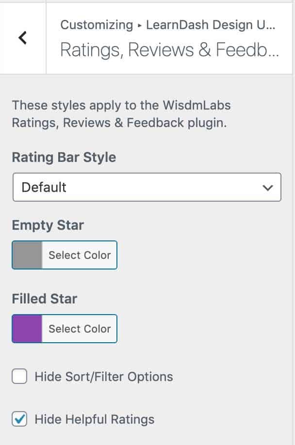 Customizer options in Design Upgrade Pro for WisdmLabs Ratings/Reviews plugin