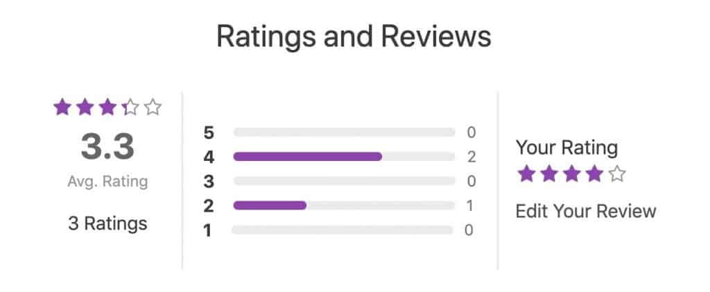 Example of ratings & reviews in purple color