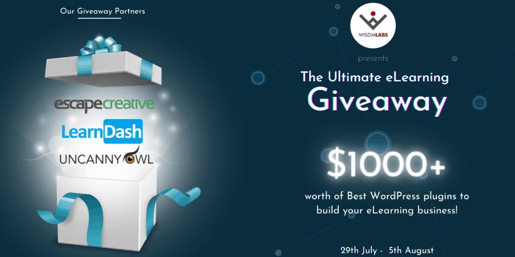 WisdmLabs Elearning Giveaway Promo