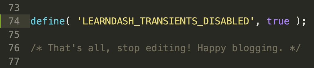 Disable LearnDash transients code