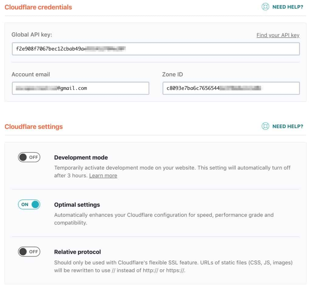 WP Rocket Cloudflare settings enabled