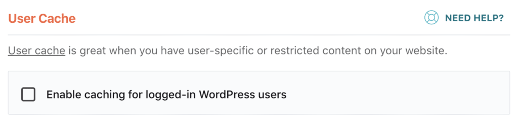 WP Rocket user cache disabled in settings
