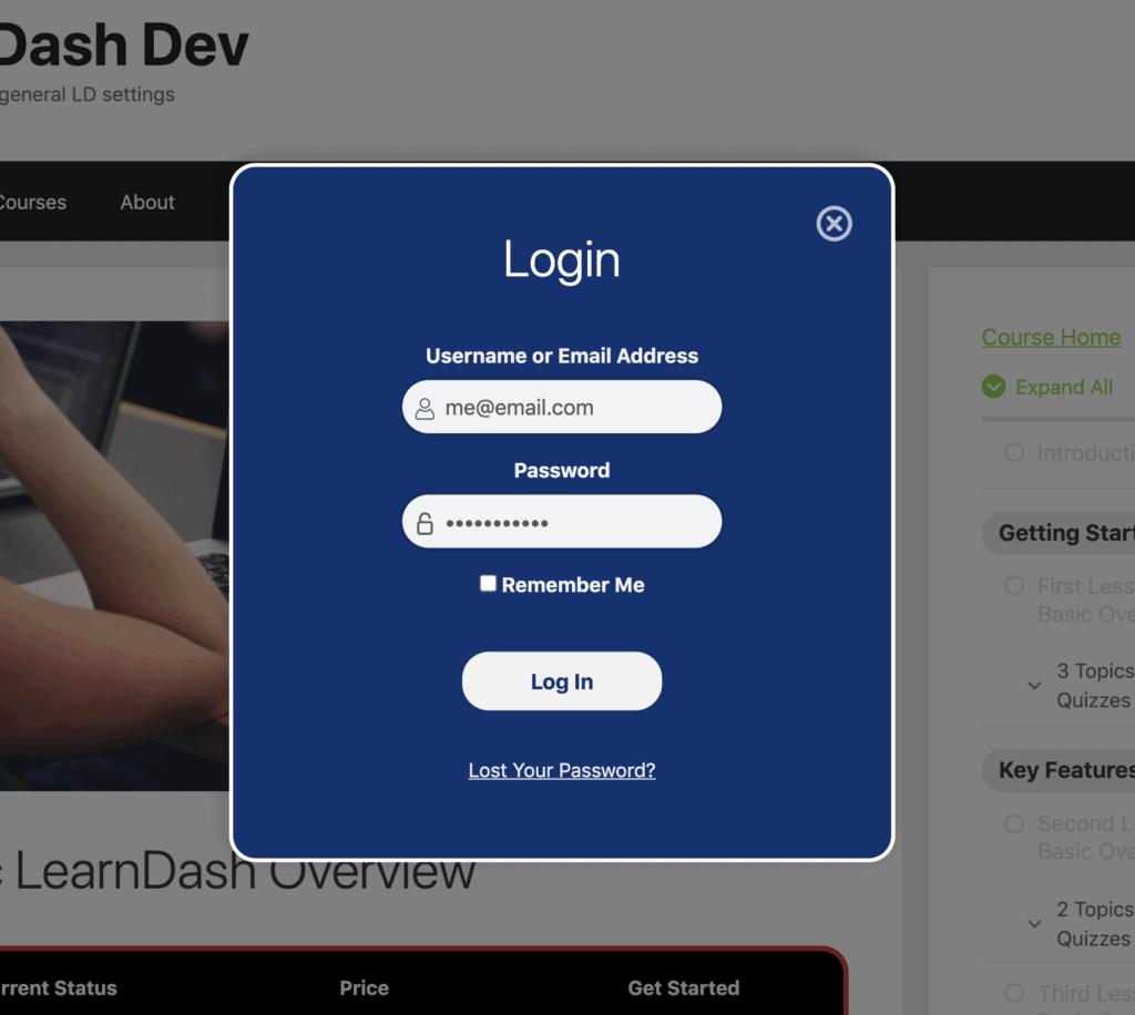 Improved design of LearnDash login modal