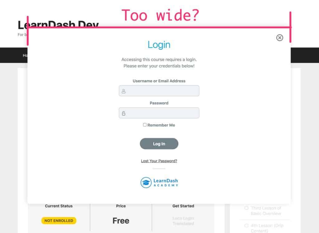 LearnDash login modal, by default, really wide